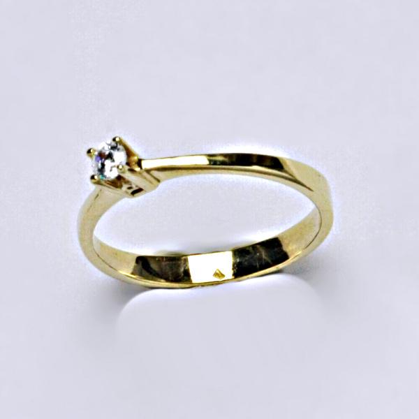 Prsten prsteny žluté zlato zirkon VR 322
