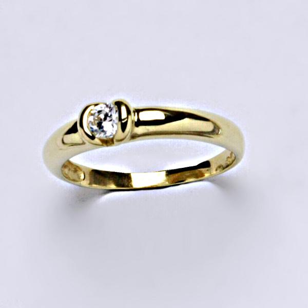 Prsten prsteny žluté zlato zirkon šperky zlaté v.v VR 8