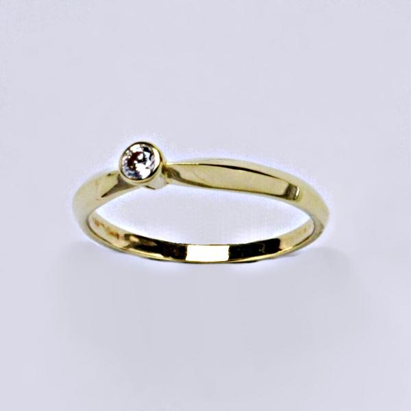 Prsten prsteny žluté zlato zirkon 3