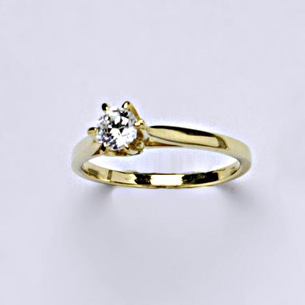 Prsten, prsteny, žluté zlato, zirkon, šperky zlaté VR 128