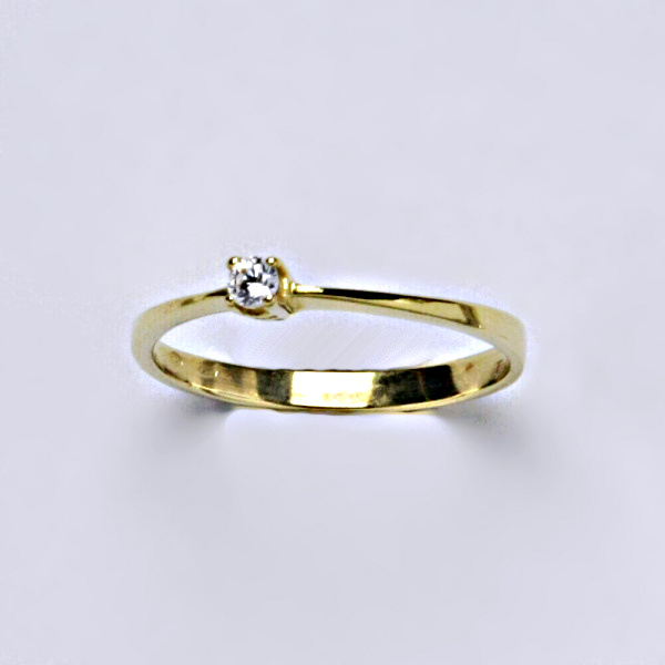 Prsten, prsteny žluté zlato, zirkon, šperky zlaté VR 327