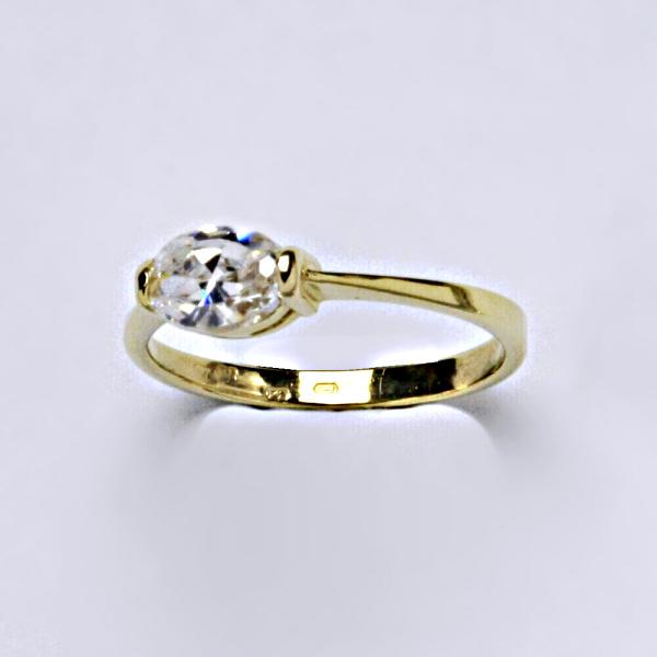 Prsten prsteny žluté zlato zirkon šperky zlaté 5 v.v VR 110