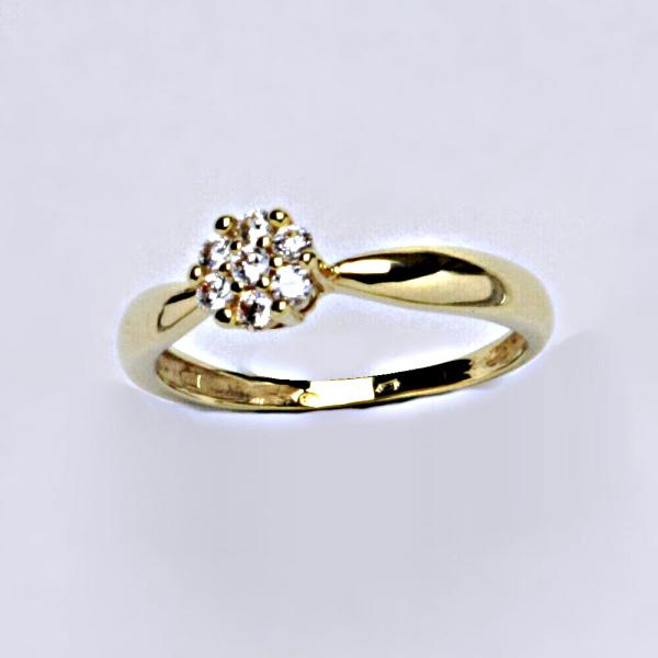 Prsten žluté zlato se zirkony, šperky zlaté VR 75