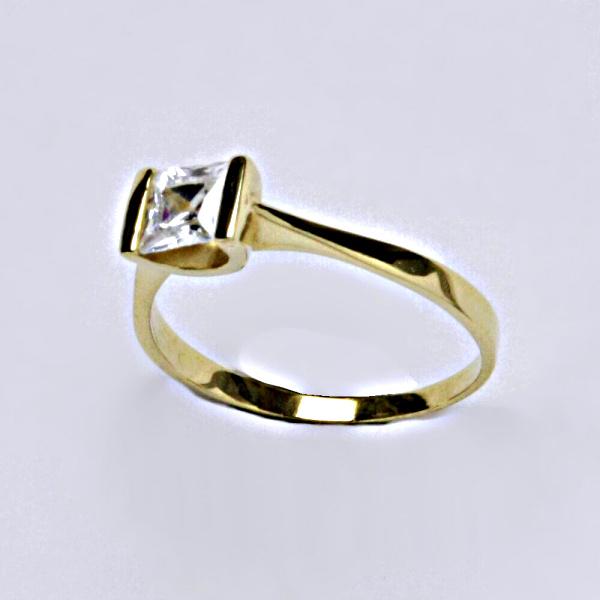 Prsten prsteny žluté zlato zirkon šperky zlaté VR 97