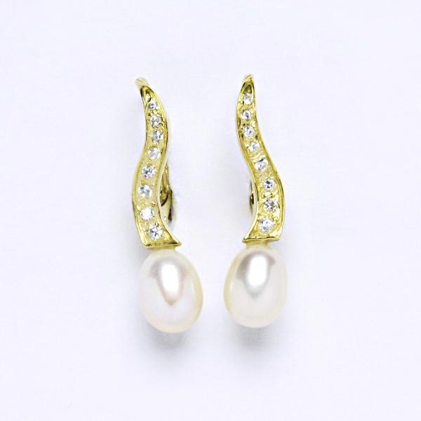 Náušnice žluté zlato přírodní perla