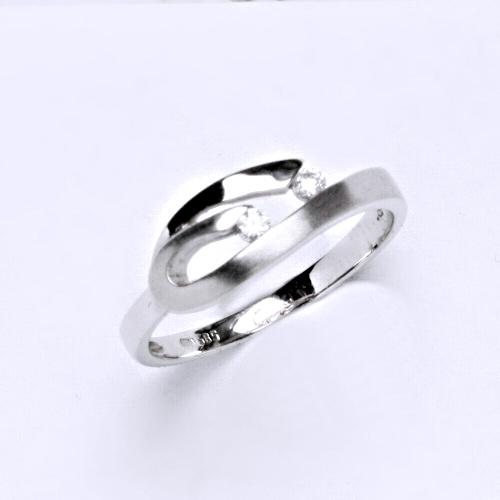 Zlatý prsten 2,36 g bílé zlato 14 karátů