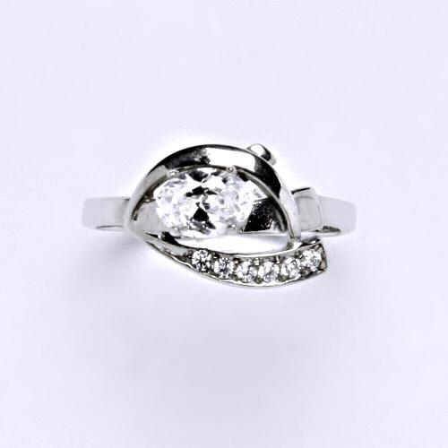 Zlatý prsten 3,67 g bílé zlato 14 karátů