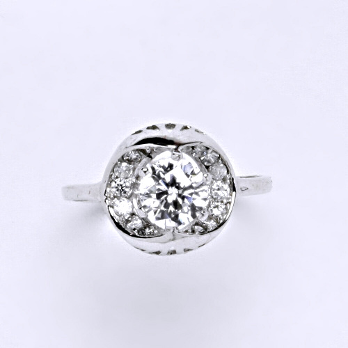 Zlatý prsten 3,17 g bílé zlato 14 karátů