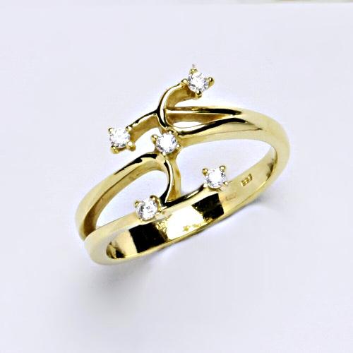 Zlatý prsten 3,83 g žluté zlato 14 karátů