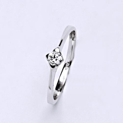 Zlatý prsten 2,17 g bílé zlato 14 karátů