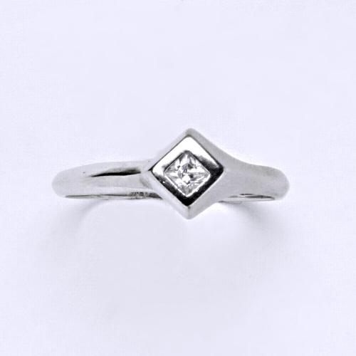 Zlatý prsten 2,14 g bílé zlato 14 karátů