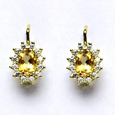 Zlaté náušnice Kate, žluté zlato, přírodní citrín, čiré zirkony, NK 1480
