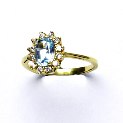 Zlatý prsten Kate, žluté zlato, přírodní topaz sky, čiré zirkony, T 1480