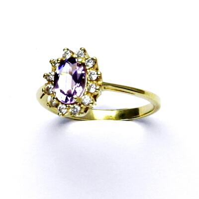 Zlatý prsten Kate, žluté zlato, přírodní ametyst světlý, prstýnek ze zlata, T 1480