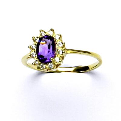 Zlatý prsten Kate, žluté zlato, přírodní ametyst tmavý, prstýnek ze zlata, T 1480