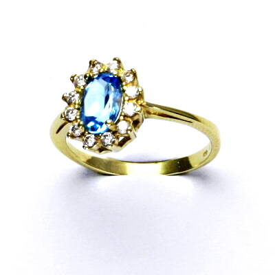 Zlatý prsten, Kate, žluté zlato, přírodní topaz swiss, prstýnek ze zlata, T 1480