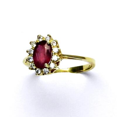 Zlatý prsten Kate, žluté zlato, přírodní rubín, prstýnek ze zlata, T 1480