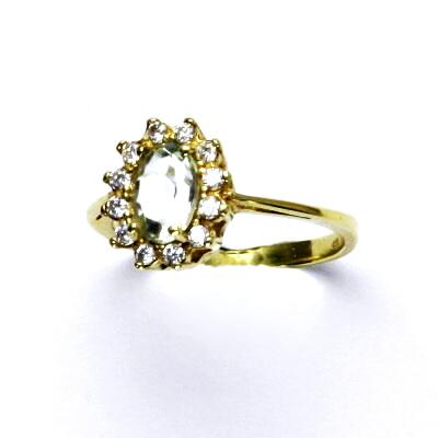 Zlatý prsten Kate, žluté zlato, přírodní green ametyst, prstýnek ze zlata, T 1480