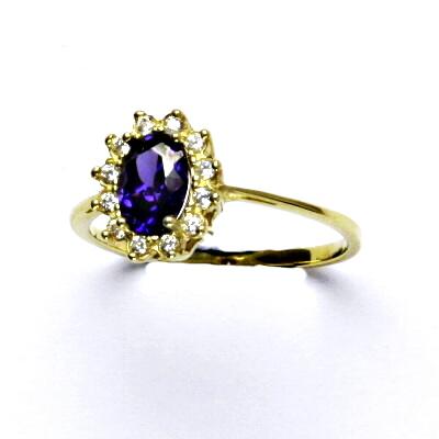 Zlatý prsten Kate, žluté zlato, syntetický ametyst, prstýnek ze zlata, T 1480