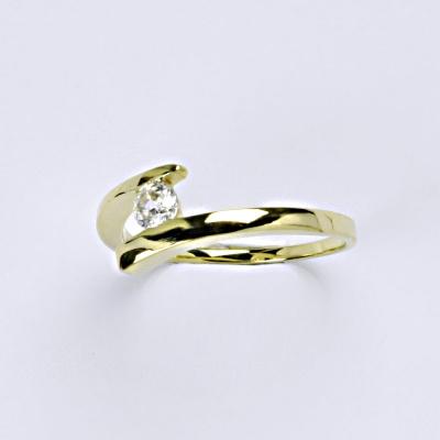 Zlatý prsten s čirým zirkonem zasnubní, žluté zlato, VR 310