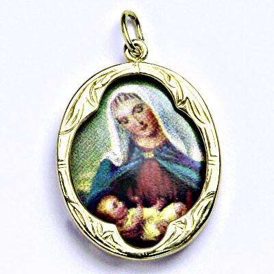 Zlatý přívěšek Madonka kameninová, žluté zlato, (K), P 1013 madonka