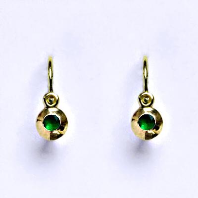 Zlaté dětské náušničky, zirkon emerald,žluté zlato, NK 1330