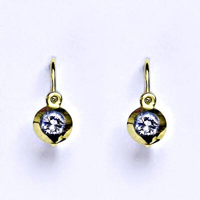 Zlaté dětské náušničky, zirkon lavender,žluté zlato, NK 1319