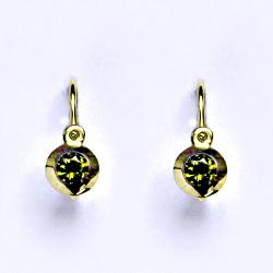 Zlaté dětské náušničky, syntetický olivín,žluté zlato, NK 1319