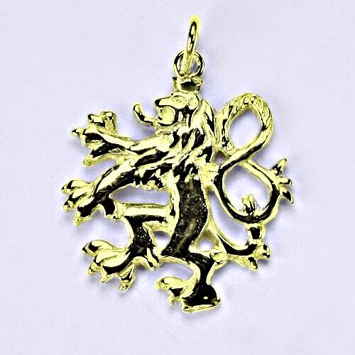 Zlatý přívěsek Český lev, žluté zlato,14 kt, P 844