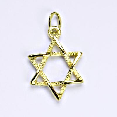 Zlatý přívěsek, Davidova hvězda, žluté zlato,přívěšek ze zlata, P 743