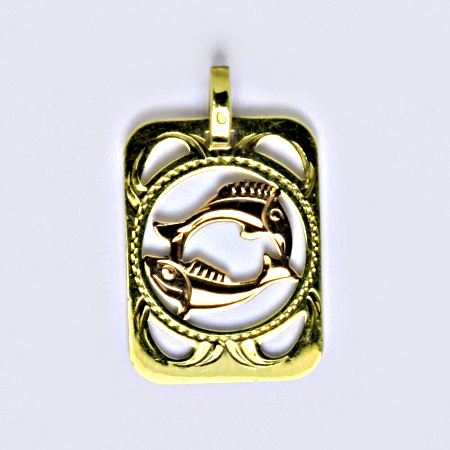 Přívěšek ze žlutého a červeného zlata. ryby. 1.13g