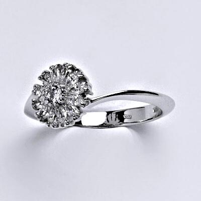 Zlatý prsten, prstýnek kytička, prsten ze zlata, bílé zlato, zirkon, váha 3,17 g, vel.54