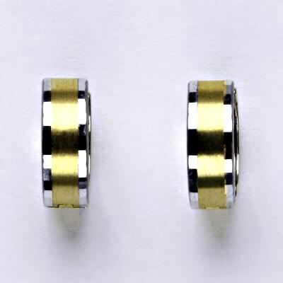 Zlaté náušnice, bílé, žluté zlato, kroužky, 2,26 g