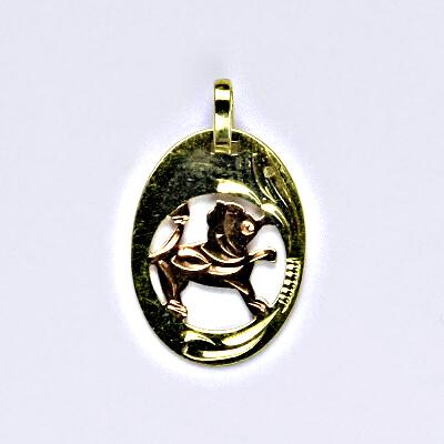 Zlatý přívěsek, přívěsek ze zlata, žluté zlato, znamení zvěrokruhu, Lev, váha 0,78 g