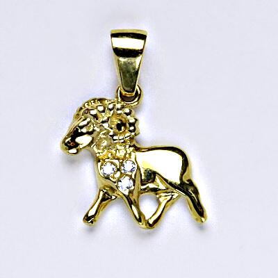 Zlatý přívěsek, přívěsek ze zlata, žluté zlato, zirkon, znamení zvěrokruhu, Beran, váha 1,57 g