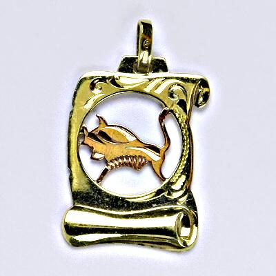 Zlatý přívěsek, přívěsek ze zlata, žluté zlato, znamení zvěrokruhu, Býk, váha 1,39 g