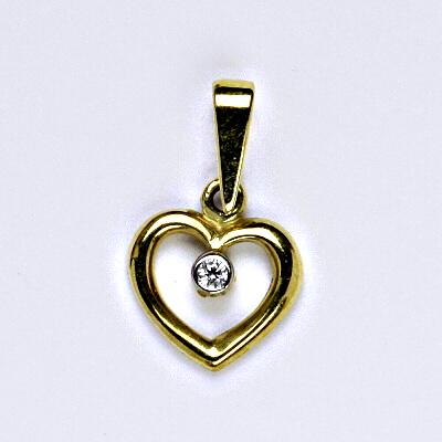 Zlatý přívěsek, přívěsek ze zlata, žluté zlato, přívěsek srdce, srdíčko, zirkon, váha 1,23 g