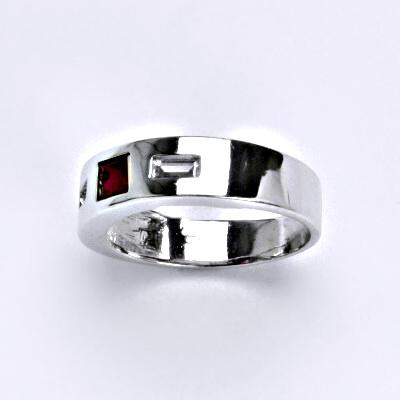Prsten z bílého zlata 14 karátů, syntetický rubín, zirkon, váha 3,77 g, vel.52