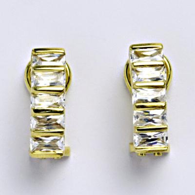 Zlaté náušnice, žluté zlato 14 ct, zapínání na patent, zirkon, váha 4,93 g