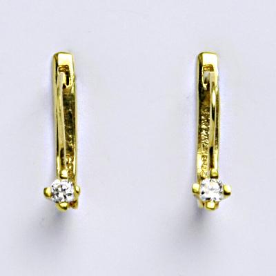 Zlaté náušnice, žluté zlato 14 ct, zapínání na patent, zirkon, váha 1,86 g
