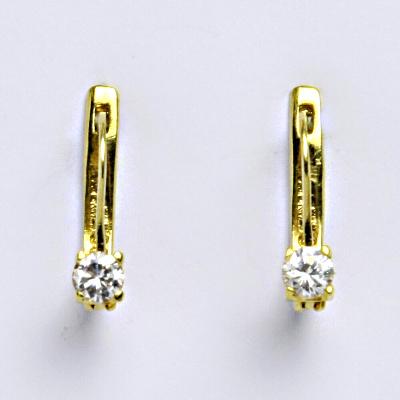Zlaté náušnice, žluté zlato 14 ct, zapínání na patent, zirkon, váha 1,91 g