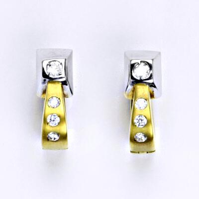 Náušnice kombinace žluté a bílé zlato 14 karátů, syntetický zirkon, zapínání na patent, váha 5,21g