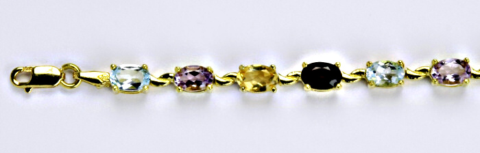 Náramek, žluté zlato, přírodní topaz, citrín, granát, ametyst, délka 19,5 cm, váha 11,57 g