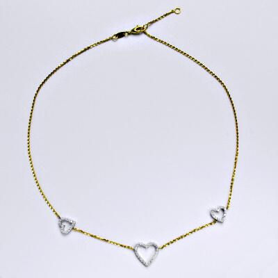 Zlatý řetízek, žluté zlato a bílé zlato, syntetický zirkon, srdce, srdíčko, váha 5,34 g