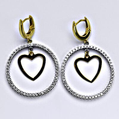 Zlaté náušnice, kombinace bílé a žluté zlato, kruhy, srdce, srdíčko, syntetický zirkon, zapínání na patent, váha 6,37g