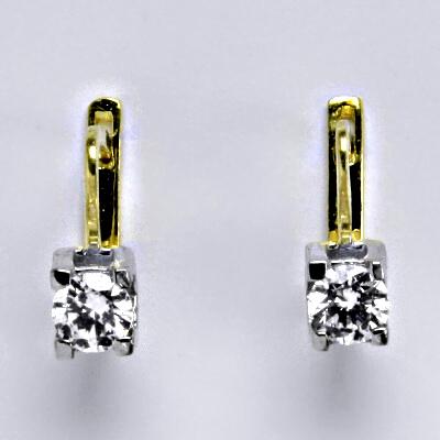 Zlaté náušnice, kombinace bílé a žluté zlato, syntetický zirkon, zapínání na patent, váha 3,58 g