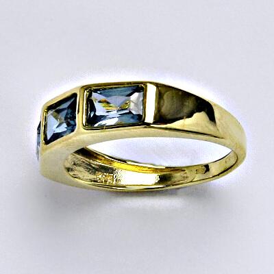 Zlatý prsten syntetický akvamarín, žluté zlato, 3,02 g, vel.53,5