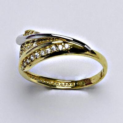 Zlatý prsten, prstýnek, prsten ze zlata, žluté zlato, bílé zlato, zirkony, váha 3,08 g, vel.56