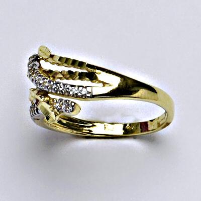 Zlatý prsten, prstýnek, prsten ze zlata, žluté zlato, zirkony, váha 2,83 g, vel.54