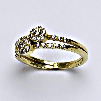 Zlatý prsten, prsten ze zlata, žluté zlato, zlatý prsten se zirkony, váha 2,85 g, vel.56